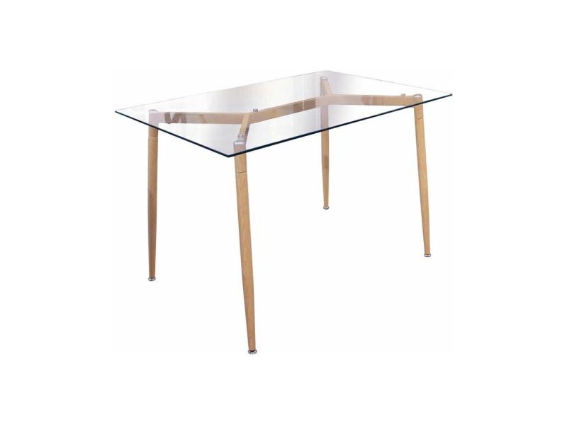 Table repas en verre pieds effet bois 115 cm