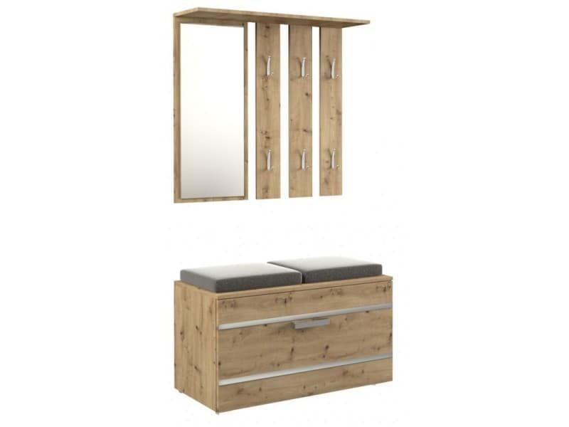 Kathi - meuble d'entrée miroir + banc  dimensions 35x85x180 - banc de rangement à chaussures - 6 crochets - vestiaire - chêne