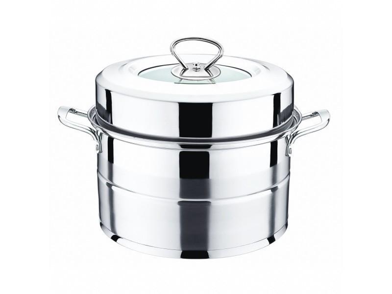 SOURCING MAP Accueil cuisine Cuiseur /à vapeur en acier inoxydable Couvercle en verre Pot 2pcs Poign/ée Bouton