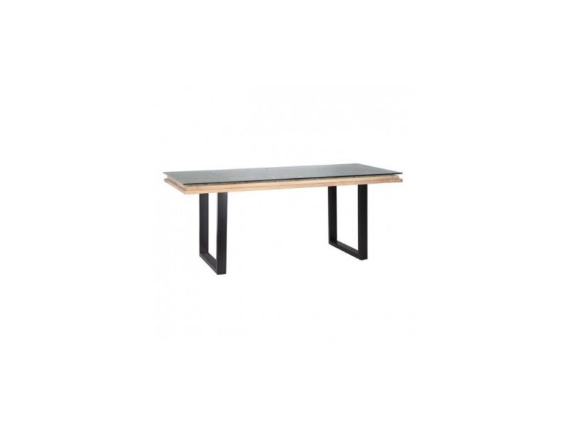Table à manger bois métal brut noir arabisc