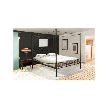 Good lit baldaquin personnes x cm noir avec sommier with conforama lit places with conforama lit - Lit baldaquin bambou conforama ...