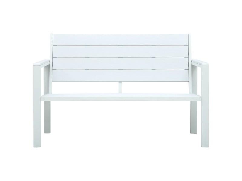Vidaxl banc de jardin 120 cm pehd blanc aspect de bois 47870