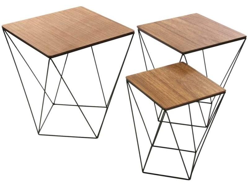 Set de 3 tables d'appoints plateau bois blackwire