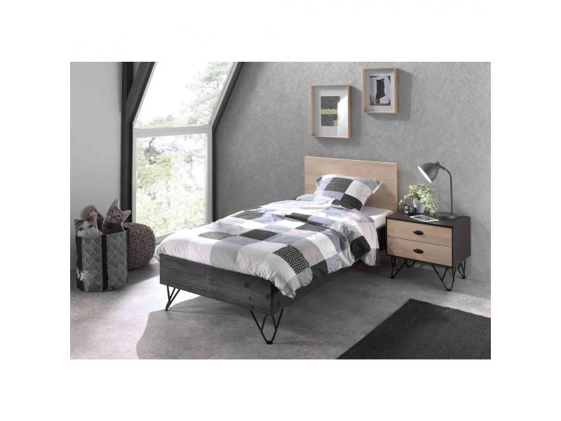 Lit enfant 90x200 en bois chevet 2 tiroirs bois clair et gris foncé