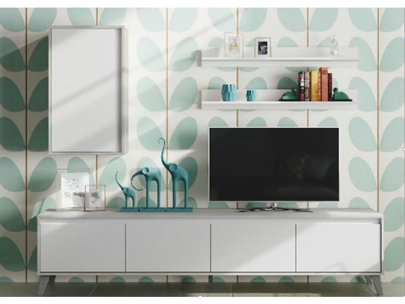 Meuble tv coloris blanc artic et décor béton - 50 x 200 x 41 cm -pegane-