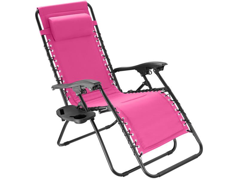 Tectake chaise de jardin matteo - rose vif 403873