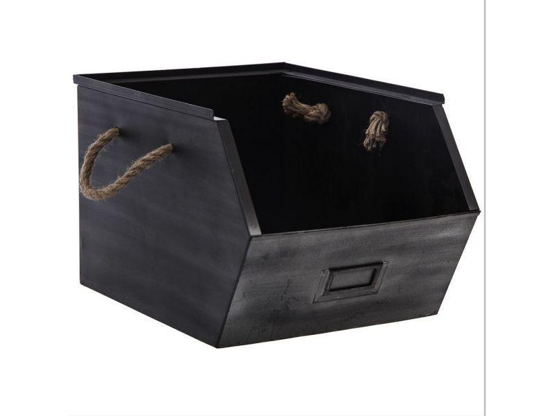 Corbeille, panier stylé casier de rangement métal noir