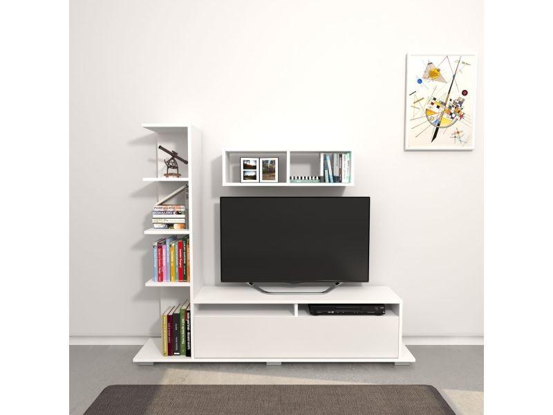 Meuble tv design avec étagère argo - l. 150 x h. 125 cm - blanc
