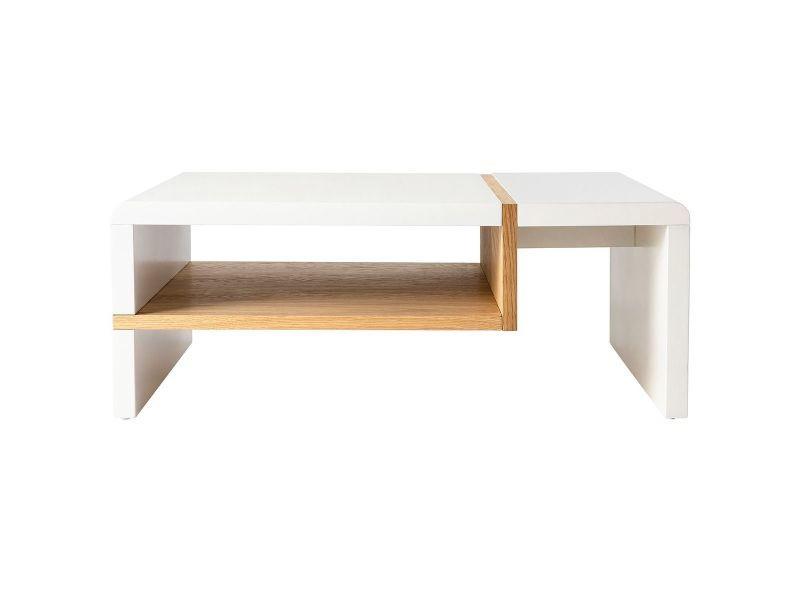 Table basse design laquée mat blanc et plaquage chêne insert