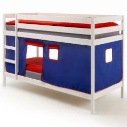 Lits superposés blanc felix, rideaux bleu/rouge