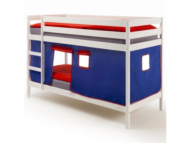 lits superpos s blanc felix rideaux bleu rouge vente de idimex conforama. Black Bedroom Furniture Sets. Home Design Ideas