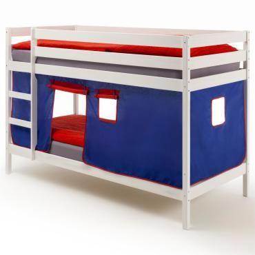 lits superpos s blanc felix rideaux bleu rouge conforama. Black Bedroom Furniture Sets. Home Design Ideas