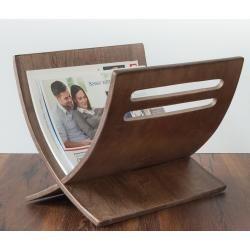Porte revue en bois rangement magazines marron 30x29x36 cm div06002