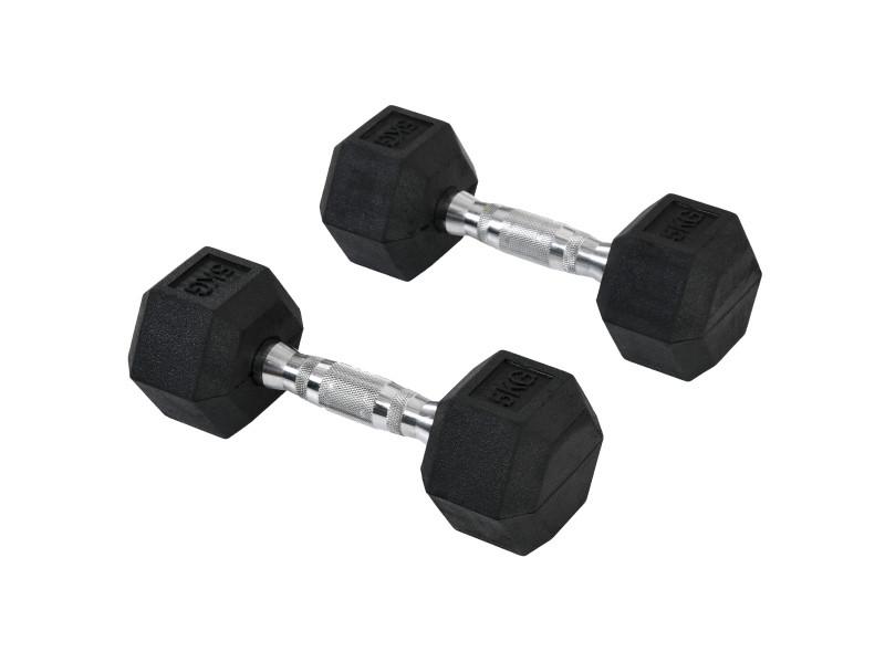 Ensemble d'haltères courtes total 10 kg - entraînement musculaire & haltérophilie - acier caoutchouc noir