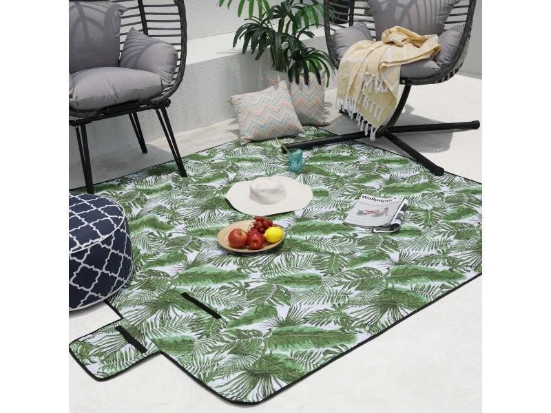 Tapis couverture multi-usage imperméable et pliable - pique-nique, camping, plage - congo 200 x 200 cm