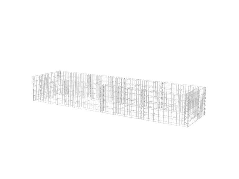 Vidaxl lit surélevé à gabion acier 360x90x50 cm 142555