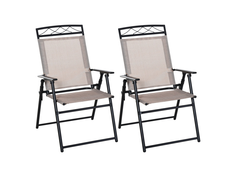 Lot de 2 chaises de jardin pliantes avec accoudoirs métal noir textilène beige