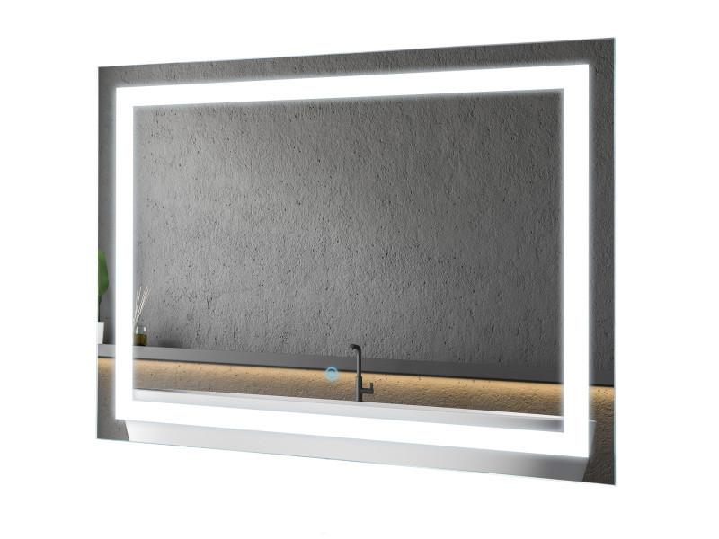 Miroir lumineux led salle de bain 38 w interrupteur tactile 60l x 4l ...