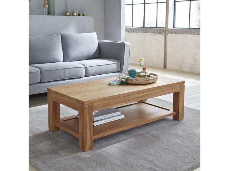 Table basse en bois de teck double plateau 120