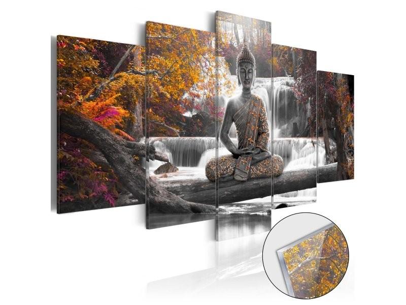 Tableaux en verre acrylique décoration murale motif bouddha d'automne 100x50 cm tva110104