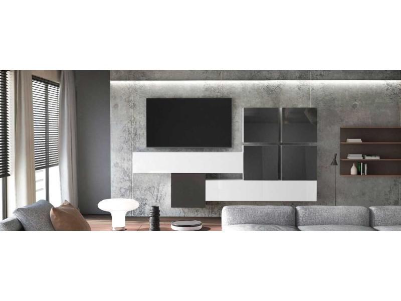 Ensemble de 7 meubles suspendus blanc mat + blanc et noir laqué