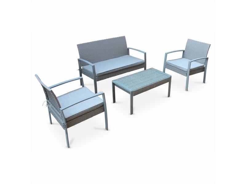 Salon de jardin en résine tressée - vicenzo - gris clair. Coussins gris - 4 places - 1 canapé. 2 fauteuils. Une table basse