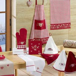 Petit cœur montagne 12 x 12 rouge/vichy 12 x 12 les ateliers du linge