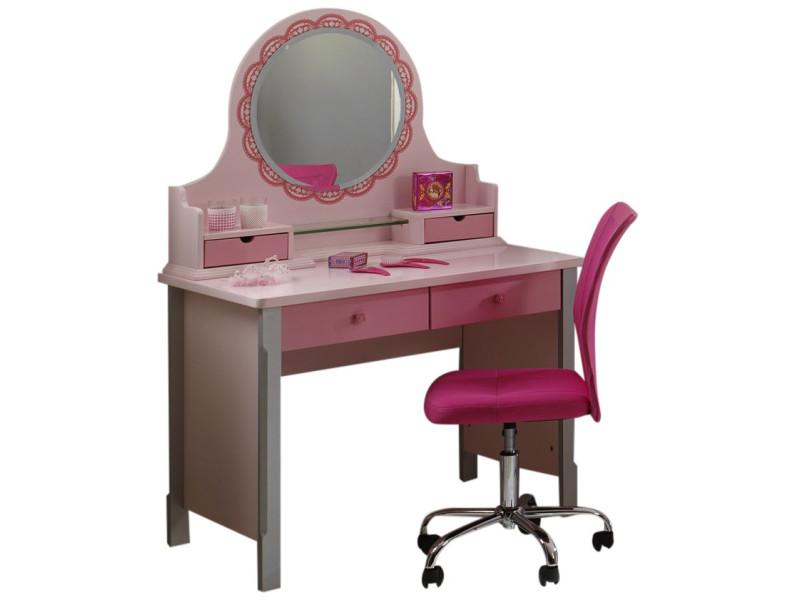 Sumeuble avec miroir pour bureau cm pour chambre fille en mdf