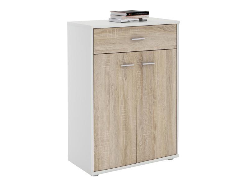 buffet calais commode tiroir rangement m lamin blanc mat et d cor ch ne sonoma vente de. Black Bedroom Furniture Sets. Home Design Ideas