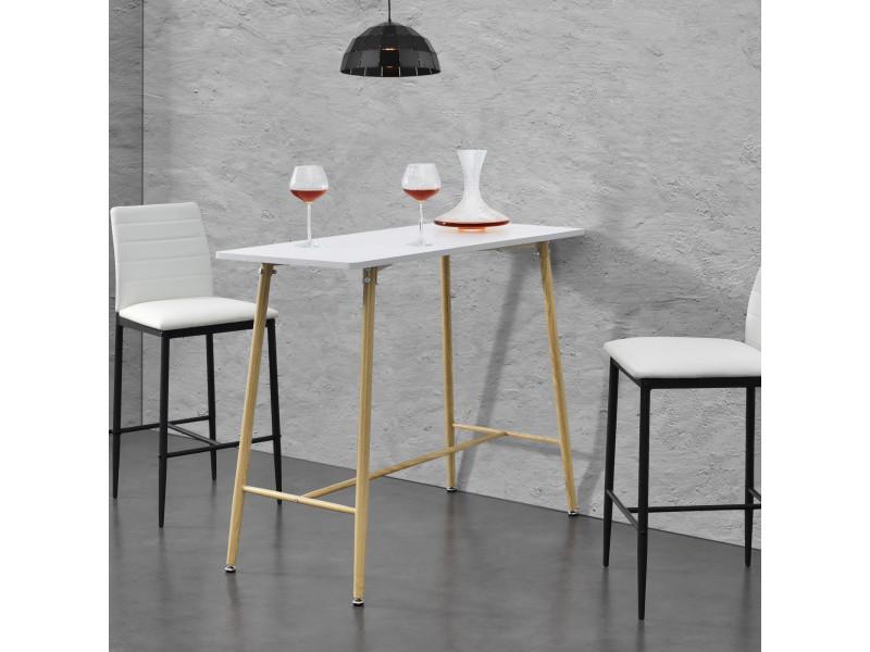 Table de bar rectangulaire design plateau en mdf pieds en métal effet bois 110 x 50 x 90 cm blanc [en.casa]