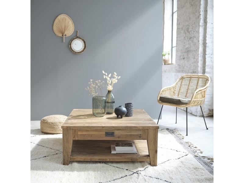 Table basse carrée en bois de teck recyclé double plateau 100