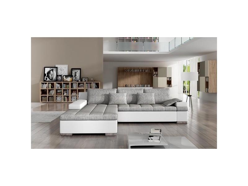 Rosy - canapé d'angle convertible gris et blanc - angle gauche