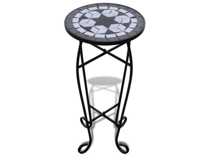 Icaverne - supports pour plantes ensemble table d'appoint mosaïque noir et blanc