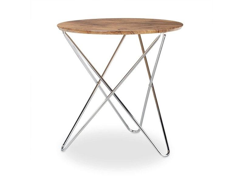 Table basse d'appoint ronde pieds croisés diamètre 60 cm bois et métal helloshop26 13_0002685