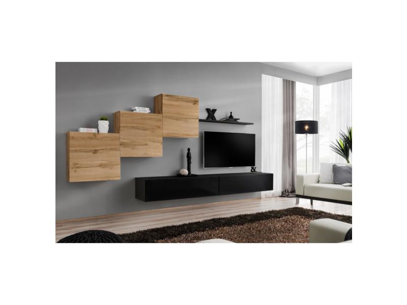 Ensemble mural - switch x - 3 vitrines carrées - 2 bancs tv - 1 étagère - bois et noir - modèle 1