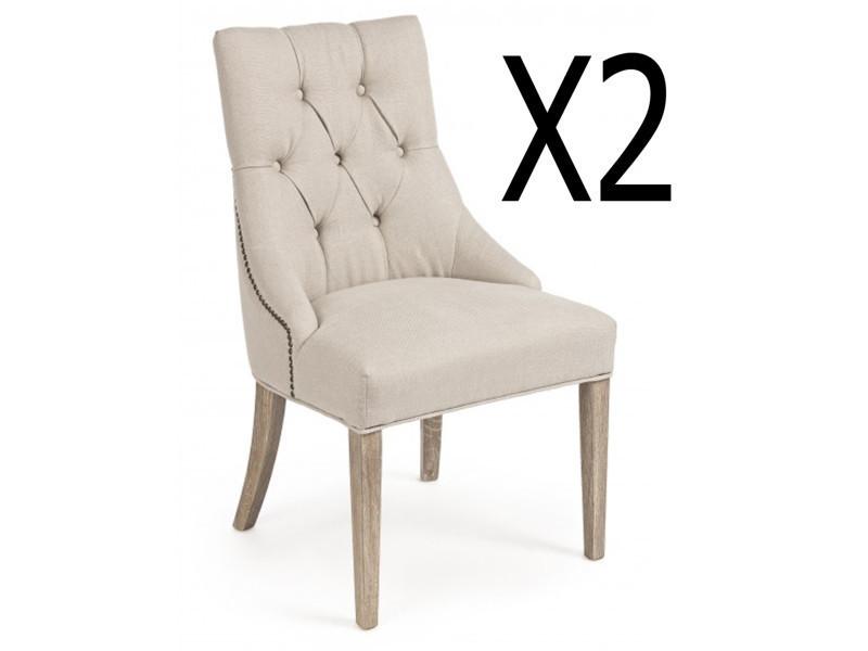 Lot de 2 chaises en bois de chêne coloris naturel - dim : l 51 x p 61 x h 90 cm -pegane