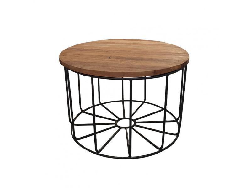 Table basse ronde en métal et plateau amovible en bois d.65 cm - teko