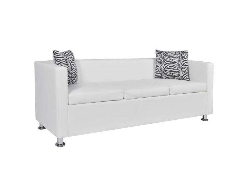 Icaverne - canapés selection jeu de canapé à 2 places et à 3 places cuir synthétique blanc