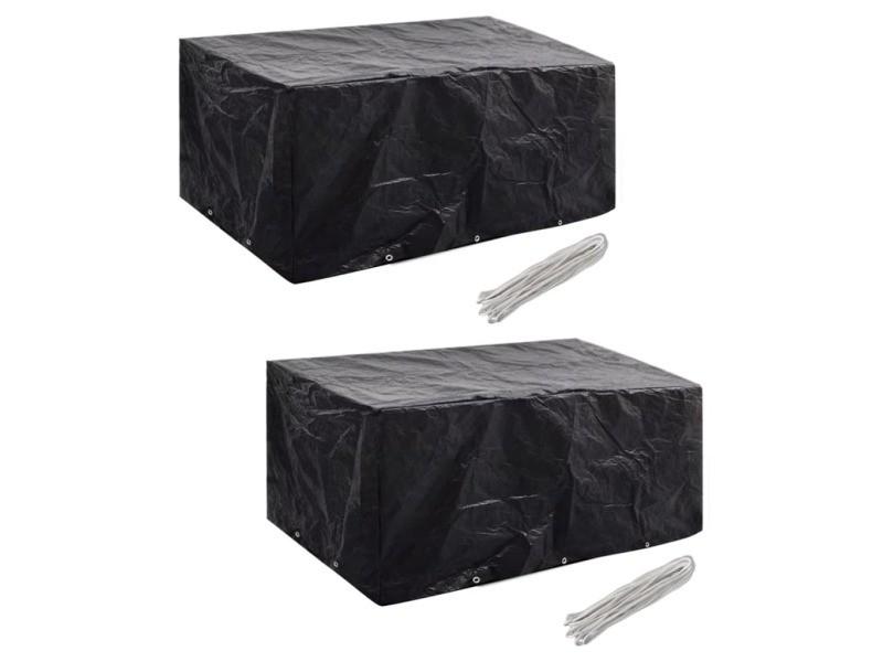 Splendide accessoires pour meubles d'extérieur gamme tirana housses de salon de jardin 2 pcs rotin 10 œillets 240x140 cm