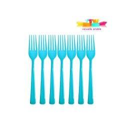 50 fourchettes jetables plastique bleu