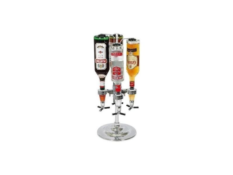 Distributeur alcool 4 bouteilles chromé
