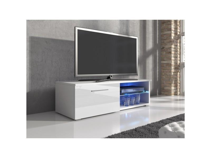 Meuble tv en mdf blanc mat et porte laquée avec led