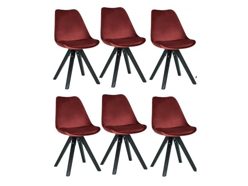 Set de 6 chaises de salle à manger retro en tissu velours rouge ...