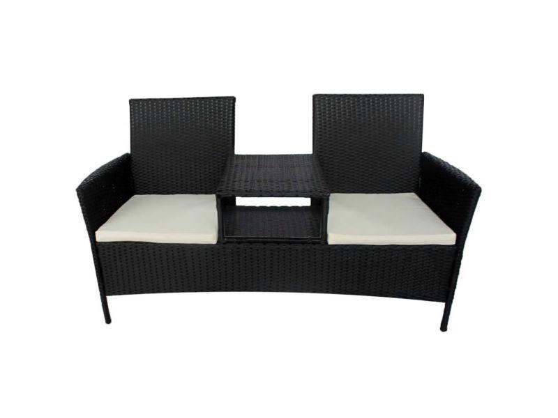 Icaverne - ensembles de meubles d'extérieur ensemble banc à deux places avec table basse rotin synthétique noir