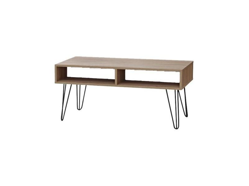 Table basse 4 niches bois et pieds métal