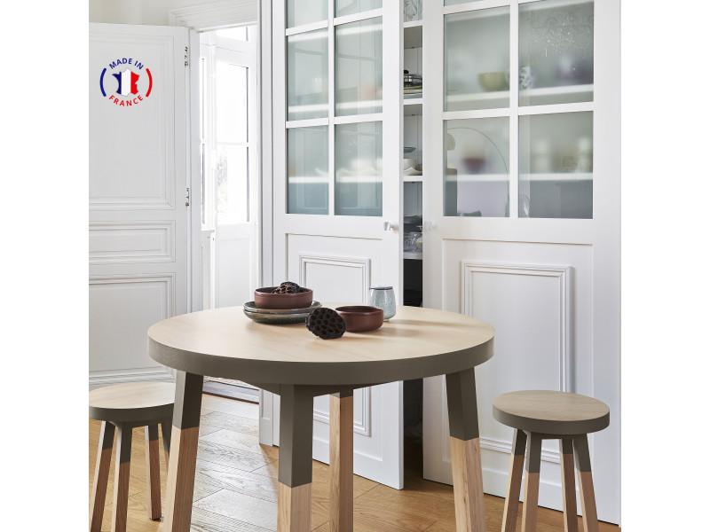 Table ronde 100% frêne massif 90x90 cm gris chocolat tanis - 100% fabrication française