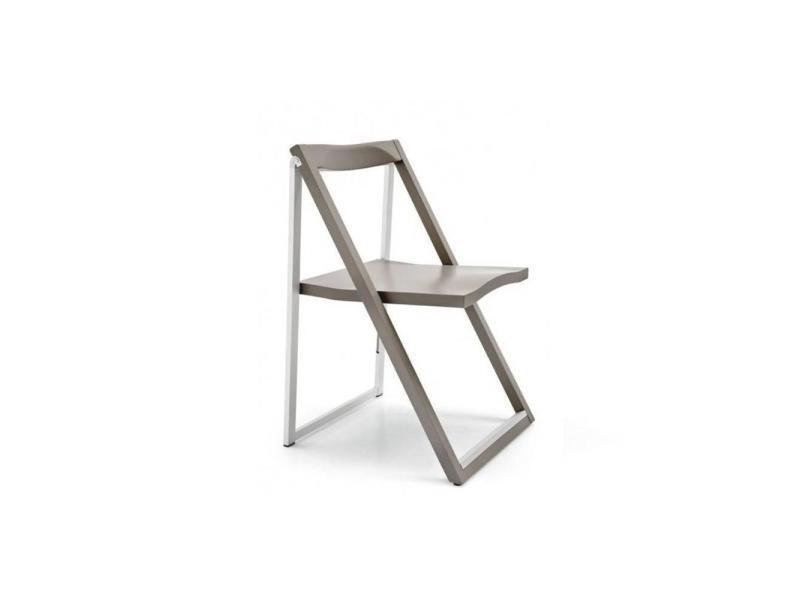 Chaise pliante skip grège et aluminium satiné 20100839839