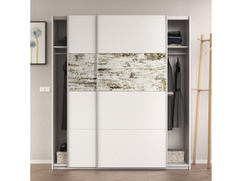 Armoire 2 portes coulissantes blanc/bois blanchi - copist - l 180 x l 63 x h 200 cm