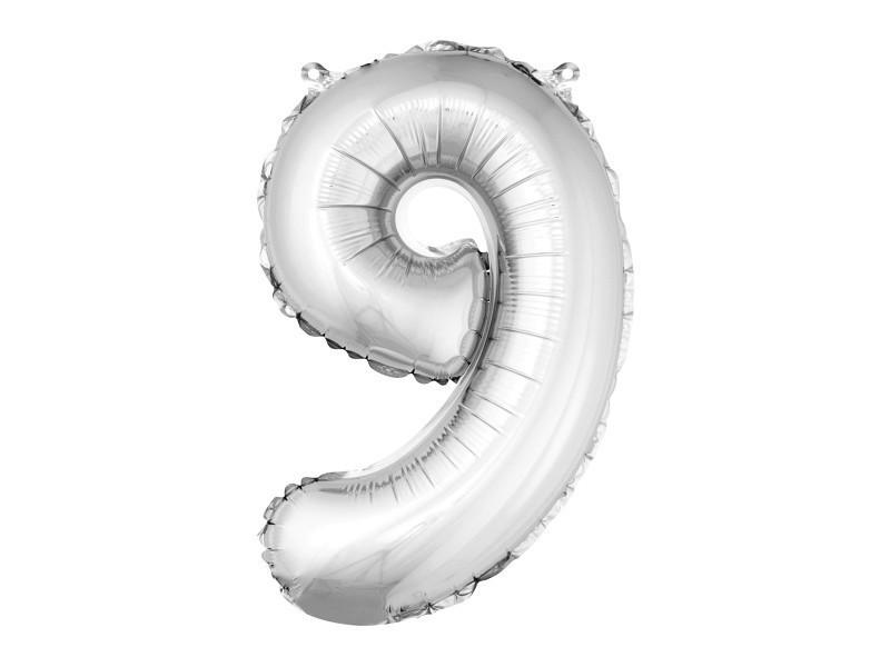 Lot de 12 ballons unis métallisés en aluminium argent chiffre 9 - h 36 cm