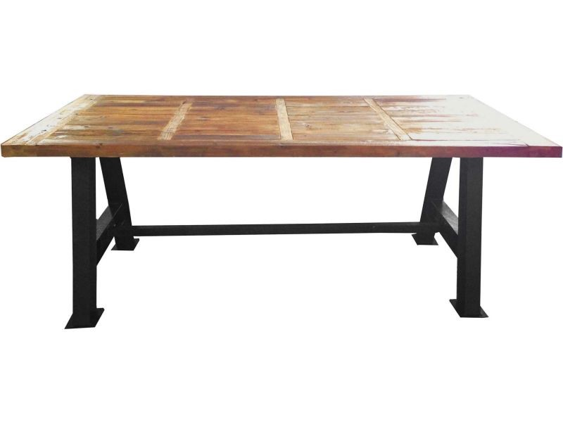 Grande table industrielle bois et métal 200 cm